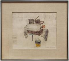 Joseph Solman - Old Fire Wagon, Monotype