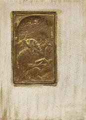 Kotel Ha'Maaravi (Western Wall), Sitting in Prayer, Judaica Embossed Copper