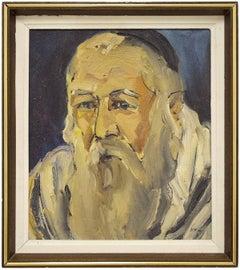 Israeli Judaica Oil Painting, Holy Man Portrait