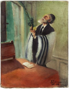 Lulav and Etrog Benediction, Judaica Oil Painting, Early 20th Century