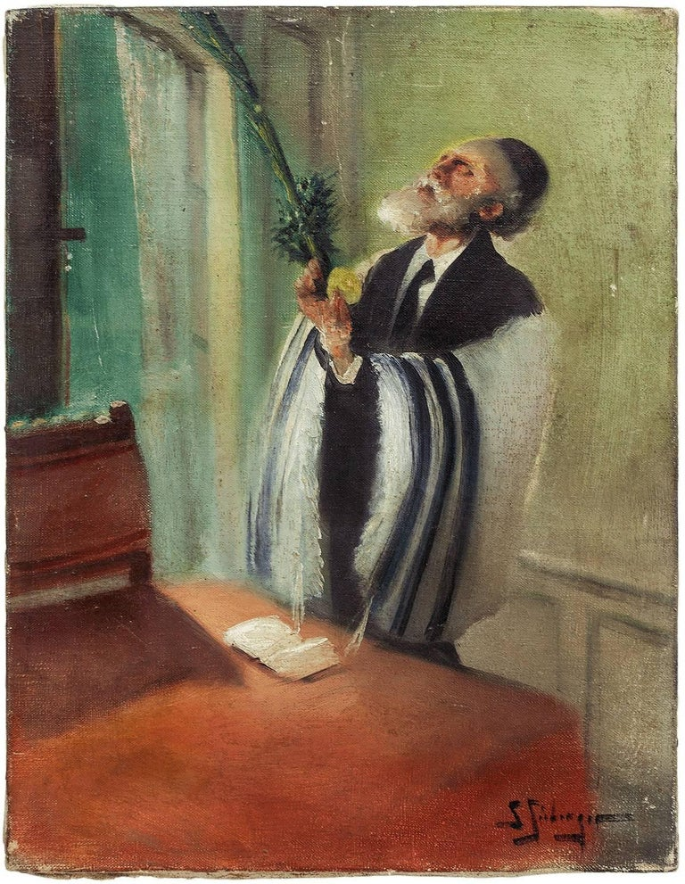 Samuel Seeberger Figurative Painting - Lulav and Etrog Benediction, Judaica Oil Painting, Early 20th Century