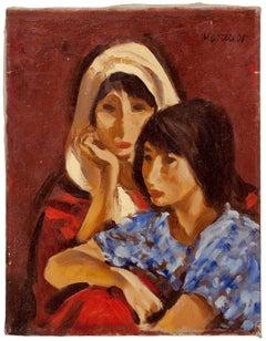 Portrait, Two Women, Oil on Canvas