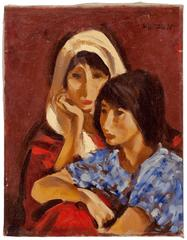 Portrait, Two Women, Oil on Canvas