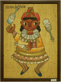 Folk Art Mexican Girl, Circus Clown Juggler