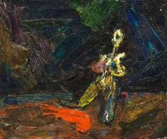 Modernist Interior Kneeling Female Nude Figure Bezael Schatz Israeli Painting