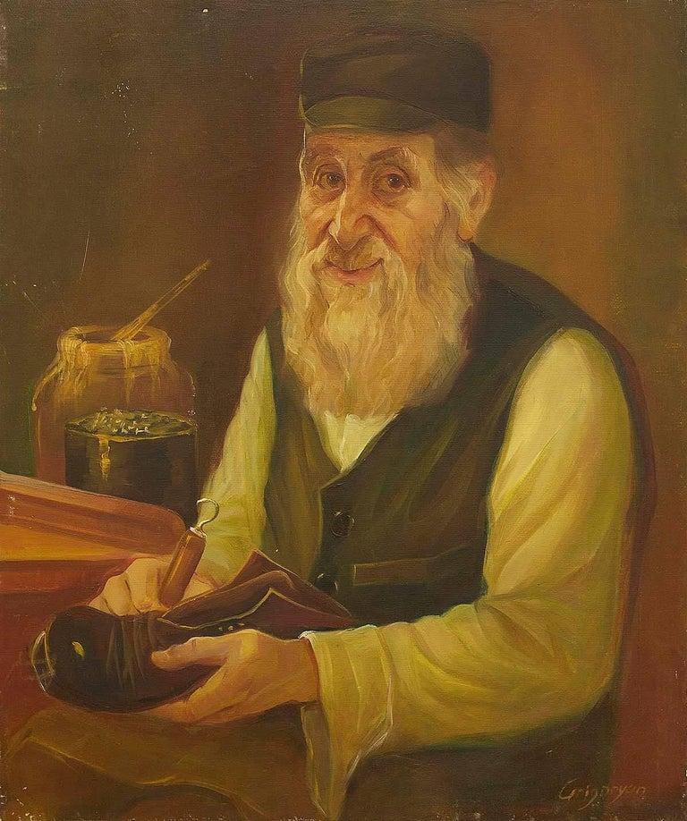 Marina Grigoryan Figurative Painting - Shtetl Shoemaker Judaica Oil Painting