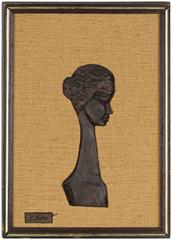 Portrait of an Israeli Girl Bronze Bas Relief Sculpture