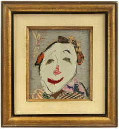 "Torn Fabric Collage Dada ""Clown Face"" Mid Century Modern Israeli"