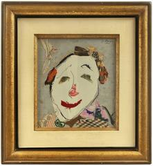 "Torn Fabric Collage Dada ""Clown Face"" Mid Century Modern Israeli"
