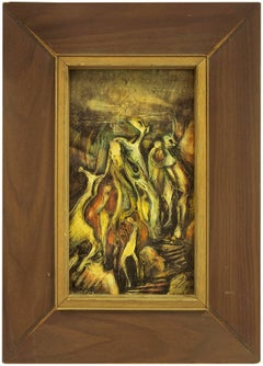 """Abstract Expressionist """"Fire Dance"""" Oil Painting Israeli Artist"""