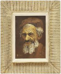 Sephardic Rabbi, Middle Eastern Mid Century Orientalist Painting