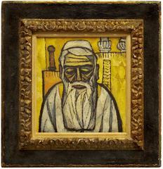 Rabbi at Synagogue Mid Century Modern Judaica Painting