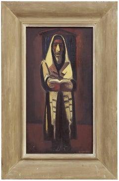 Rabbi in Prayer, Judaica Oil Painting