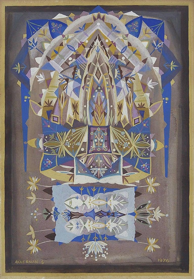 Shmuel Ackerman Abstract Painting - Mandala Judaica Post Soviet Russian Avant Garde Israeli Leviathan Group Painting