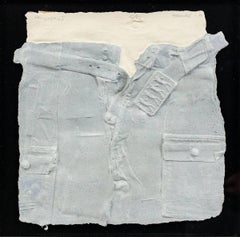 Bill Haendel Cast Paper Relief Sculpture Blue jeans 1975