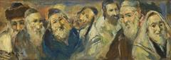 Scholars and Rabbis, Judaica Oil Painting
