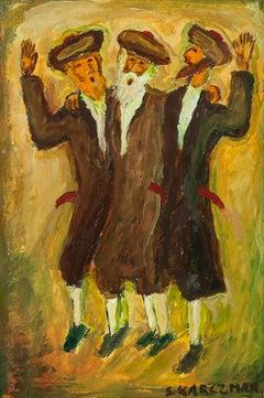 Dancing Hasidim, Judaica Oil on Board