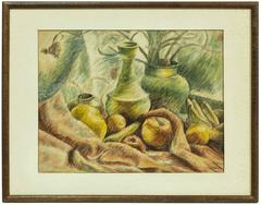 Rare Polish Modernist 1922 Fruit and Vase Still Life Painting