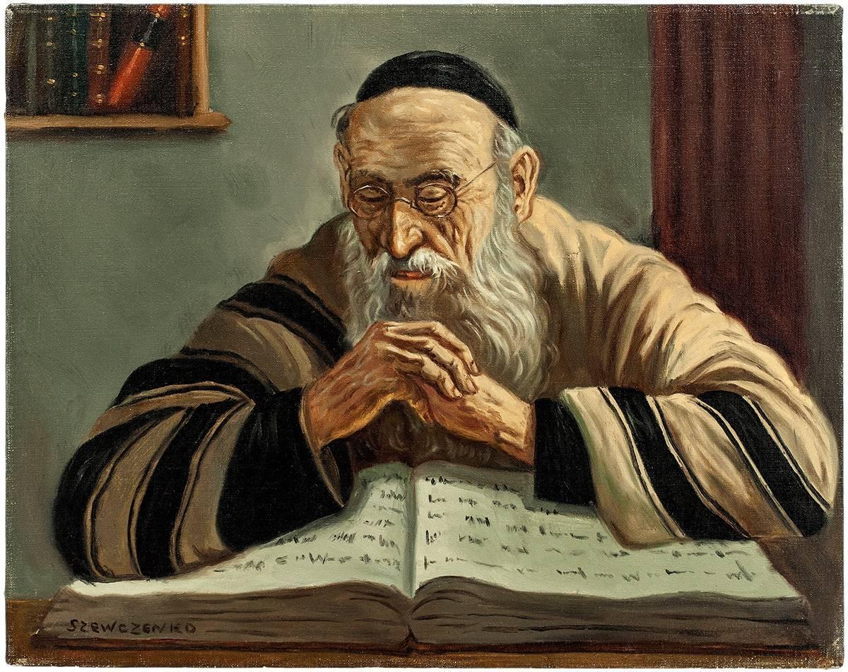 The Scholar, Judaica Oil Painting