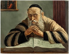 The Scholar, Judaica Oil Painting