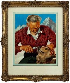 Icy Wilderness Scene, Man and Dog, American Illustration Art