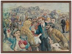 Shalom Aleichem Storytelling in the Shtetl, Judaica Print