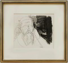 Hasidic Sage in Meditative Contemplation (The Kabbalist) Judaica Drawing