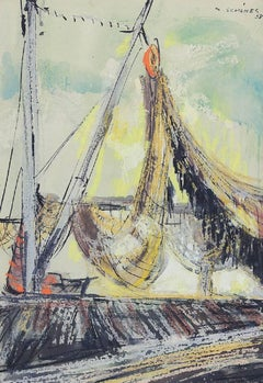 German American Expressionist Abstract Sailboat