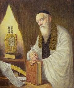 the Polish Rabbi, Judaica Oil Painting