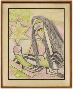 1950s Judaica Rabbi with Shofar Drawing