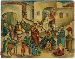 Jewish Village Palestine/Israel C.1930s Modernist Painting