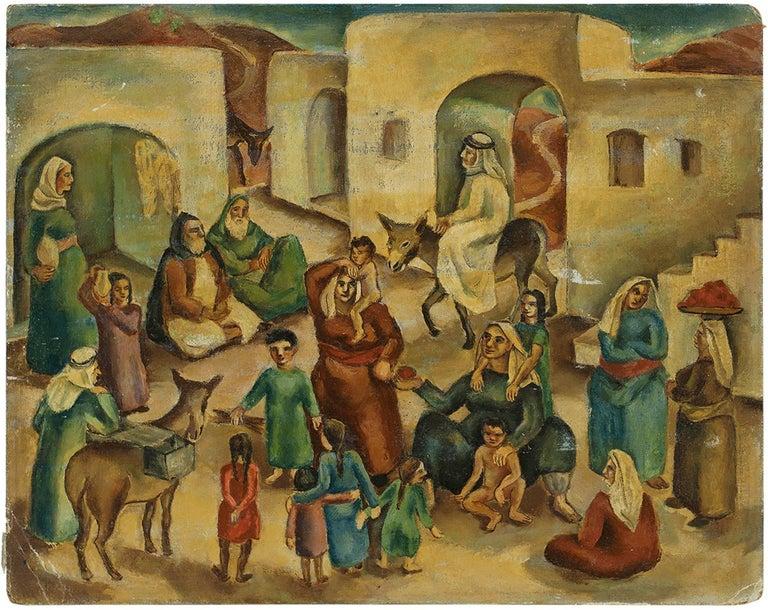 Ida Shelesnyak Mirrof Figurative Painting - Jewish Village Palestine/Israel C.1930s Modernist Painting