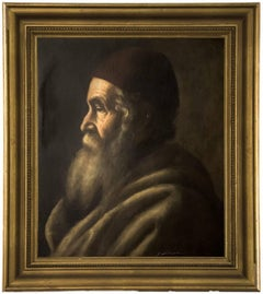 Portrait of a Rabbi Early 20th C. Judaica Painting