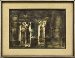 Abstract Composition with Figures Israeli Mid Century Modernist