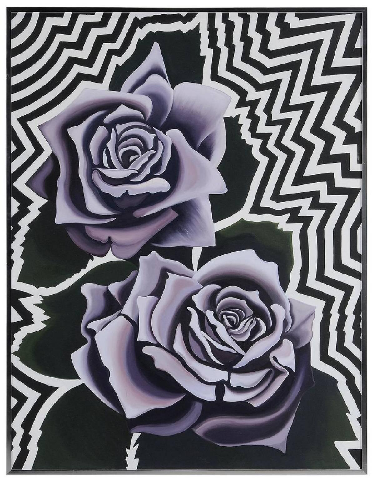 Two Violet Roses 1974, Op Art Floral Oil on Canvas Painting