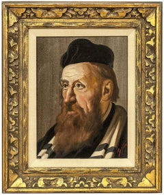 The Cantor, Vintage Judaica European Oil Painting