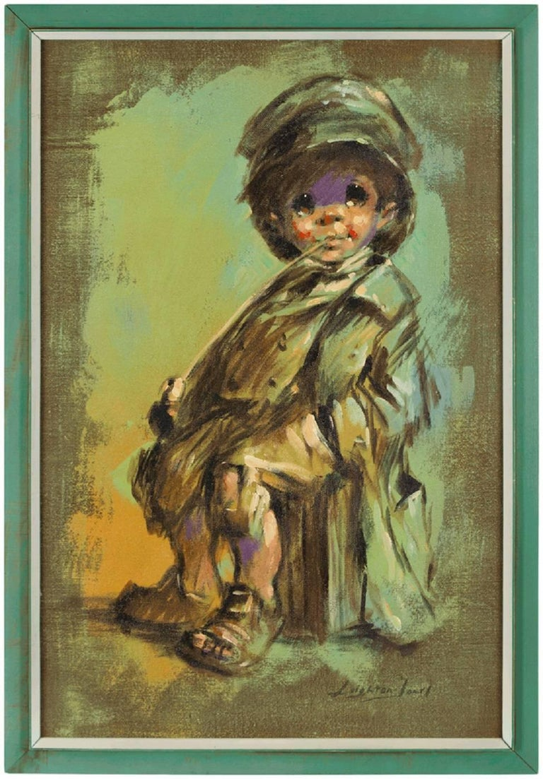 Barry Leighton-Jones Figurative Painting - Runaway Child, Expressionist Oil Painting