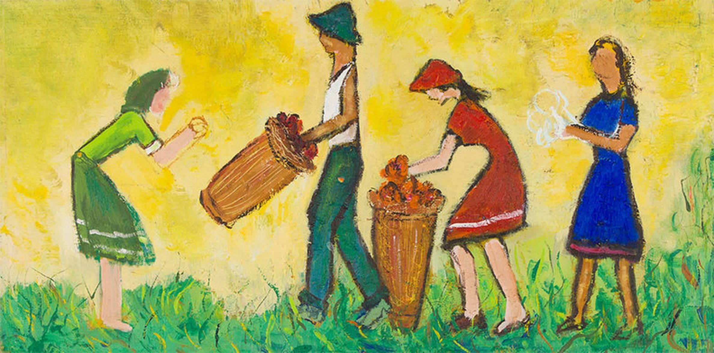 Kibbutz Pioneers at Harvest,  Early Israeli Oil Painting