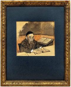 Rabbi at Study, Judaica Watercolor and Ink