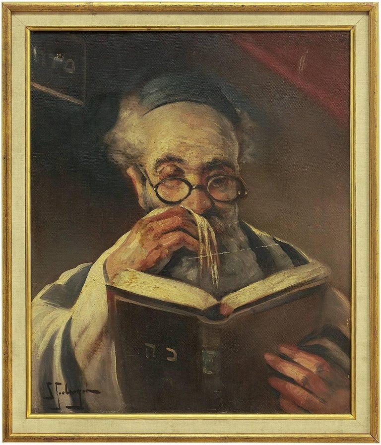 Samuel Seeberger Figurative Painting - Rabbi In Prayer (the Shema) Oil Painting