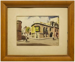 Calle Juncal, Buenos Aires, Argentina Scenic Street Scene Watercolor