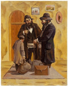 "Cheder Boy ""Off to Yeshiva"" Judaica Painting"