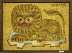 Mexican Whimsical Folk Art Lion Painting Animalia