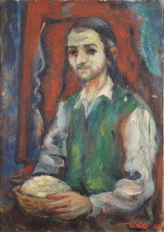 Young Religious Man 1947 Palestine, Israeli Judaica Painting