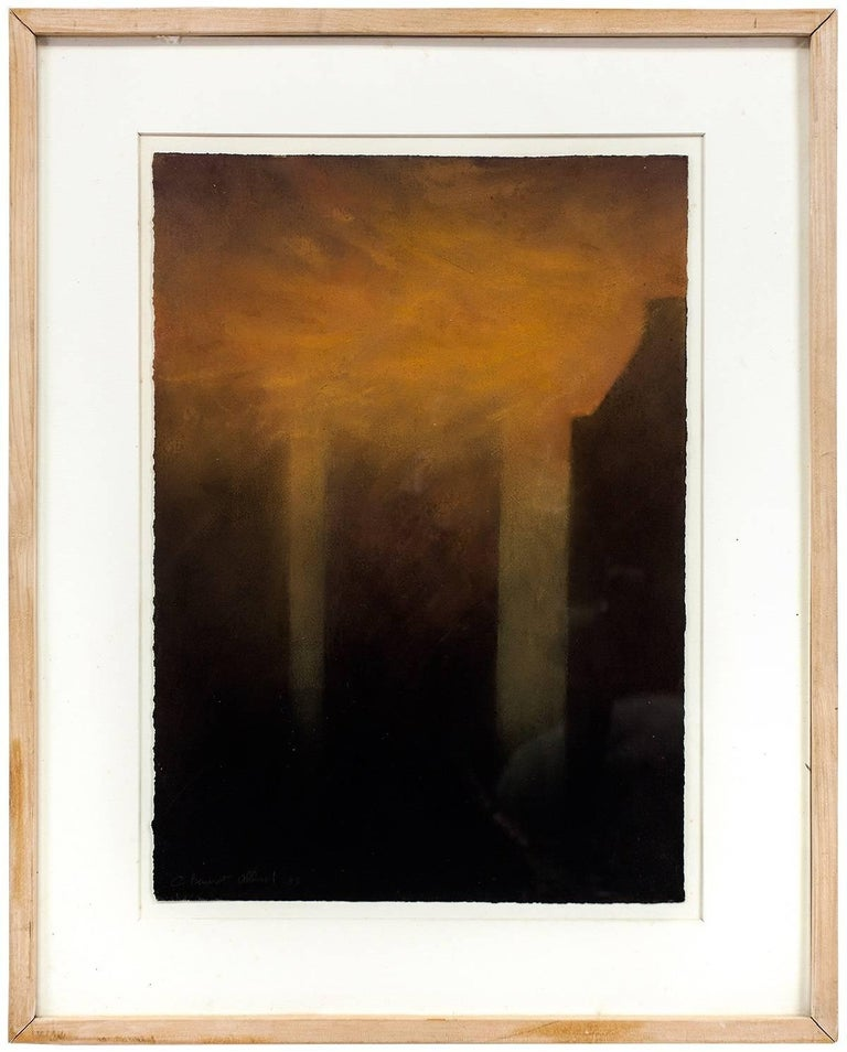 Claude Bauret Allard Abstract Painting - The Fog On New York, 1988 Pastel