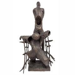 Brutalist Bronze Sculpture, Monument to Oppression, Expressionist Holocaust Art