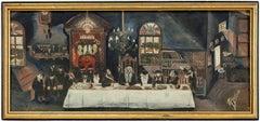 Rare 1940s Judaica Folk Art Outsider Painting Rabbis at Farbrengen