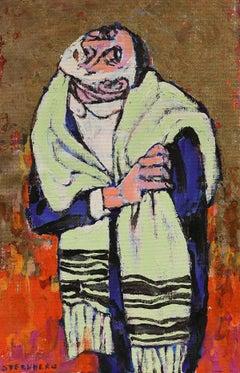 Modernist Rabbi Judaica Painting on Gold Background