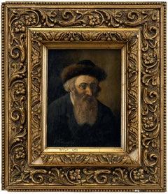 Rare Hungarian Judaica Hasidic Rabbi with Shtreimel Pre War Oil Painting