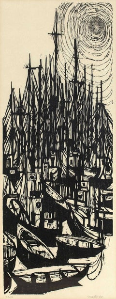 "1966 Woodcut ""Fleet"" Modernist Print"